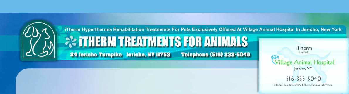 iTHERM TREATMENTS FOR ANIMALS iTherm Hyperthermia Rehabilitation Treatments For Pets Exclusively Offered At Village Animal Hospital In Jericho, New York 24 Jericho Turnpike   Jericho, NY 11753  Telephone (516) 333-5040
